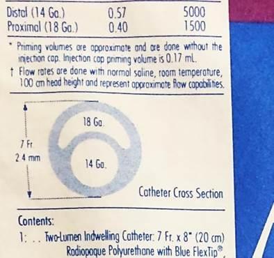 Corte transversal do cateter duplo lúmen